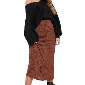 ASOS Curve Daisy Street Leopard MIDI Print Skirt